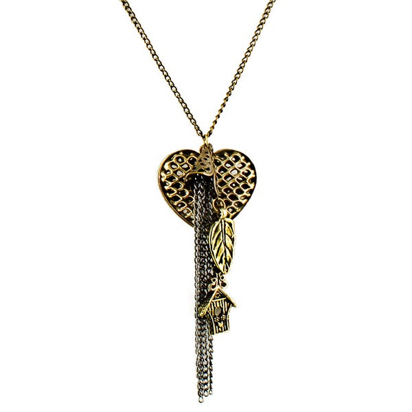 High-polish Goldtone Heart and Leaf Charm Pendant 30-inch Necklace