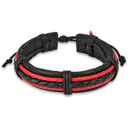 West Coast Jewelry Black and Red Braided Leather Fashion Bracelet