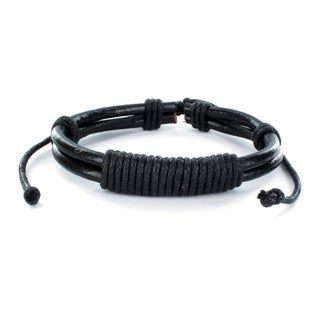 Black Leather Multi-cord Bracelet