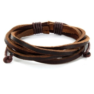 West Coast Jewelry Brown Twisted Leather Bracelet
