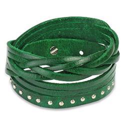 Green Multi-strip Braided/ Studded Strap Bracelet