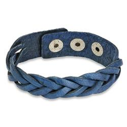 Blue Braided Leather Snap Bracelet