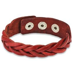 Red Braided Leather Snap Bracelet