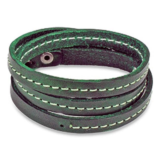Distressed Green Triple Wrap Leather Bracelet