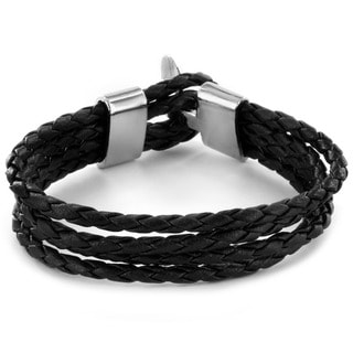West Coast Jewelry Black Braided Leather Multi-cord Bracelet