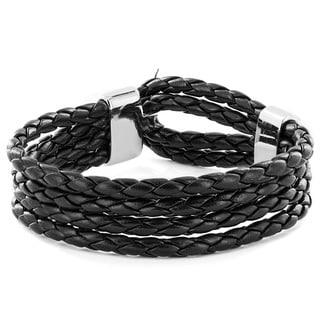 Black Braided Leather Multi-cord Bracelet