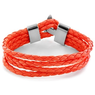Red Braided Leather Multi-cord Bracelet