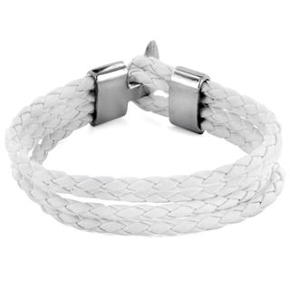 White Braided Leather Multi-cord Bracelet