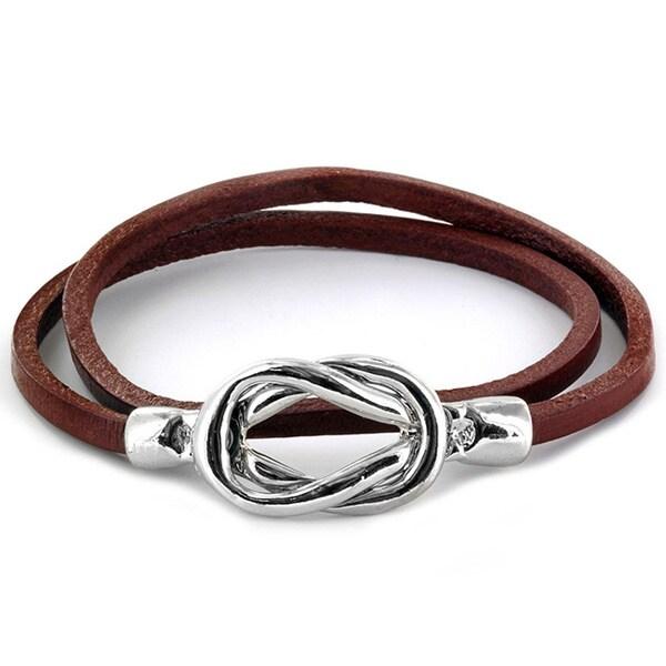 Steel Knot Double Wrap Leather Bracelet