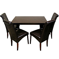 Warehouse of Tiffany Five-Piece Brown Oak Dining Furniture Set