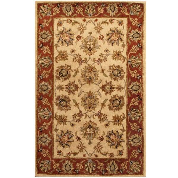 Herat Oriental Indo Hand-tufted Mahal Beige/ Rust Wool Rug (3'3 x 5'3)