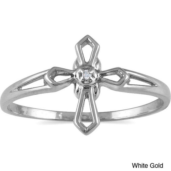 10k White Gold Diamond Accent Cross Ring