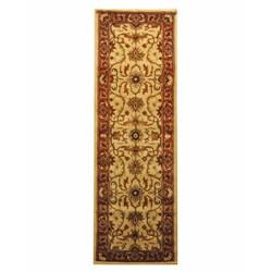 Indo Hand-tufted Beige/ Rust Wool Rug (2'6 x 8')