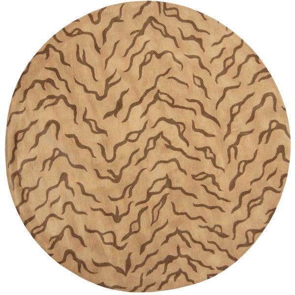 Herat Oriental Indo Hand-tufted Tibetan Beige/ Brown Wool Rug (8' x 8')
