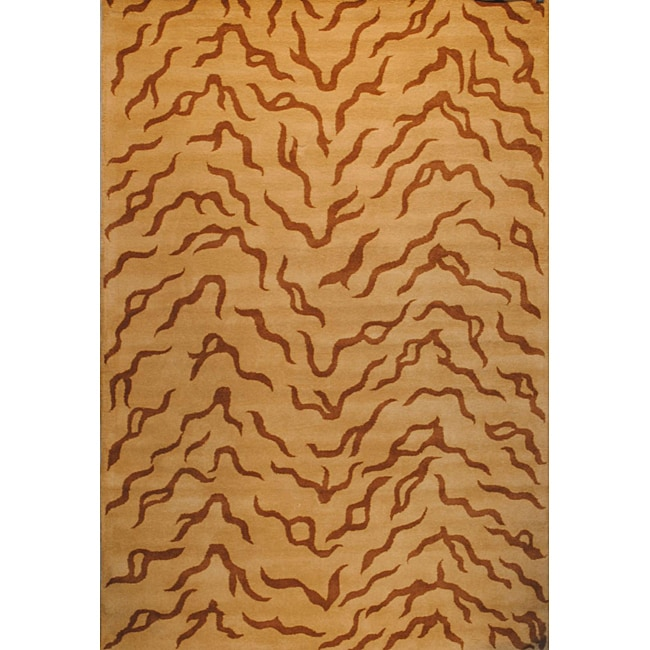 Herat Oriental Indo Hand-tufted Tibetan Beige/ Brown Wool Rug (4' x 6')