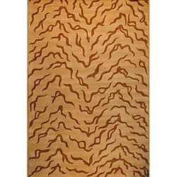 Indo Hand-tufted Beige/ Brown Wool Rug (4' x 6')