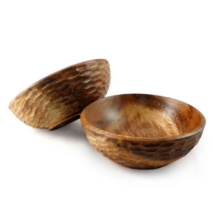 Pack of 2 Acacia Wood Side Salad Bowl (Thailand)