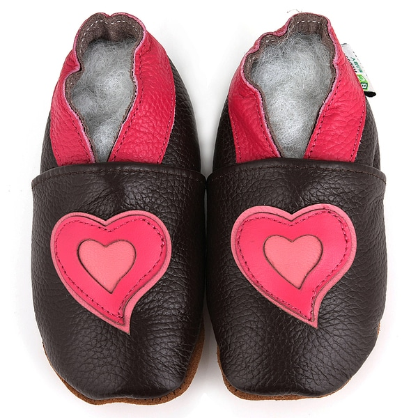 Pink Hearts Soft Sole Leather Girl's Shoes