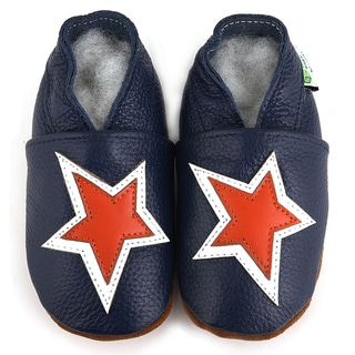 Blue and Orange Star Soft Sole Leather Boy's Shoes