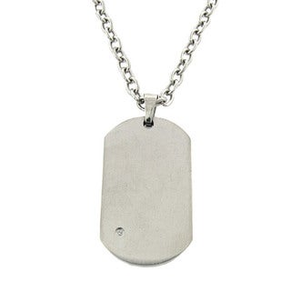 Gravity Stainless Steel and Cubic Zirconia Dog Tag Necklace