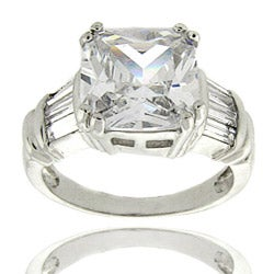 Dolce Giavonna Sterling Silver Square-cut Cubic Zirconia Ring