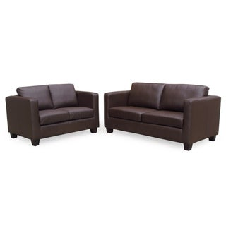 Lancaster Eco Leather Loveseat and Sofa Set