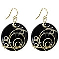 Adee Waiss Sterling Silver Black Resin Earrings