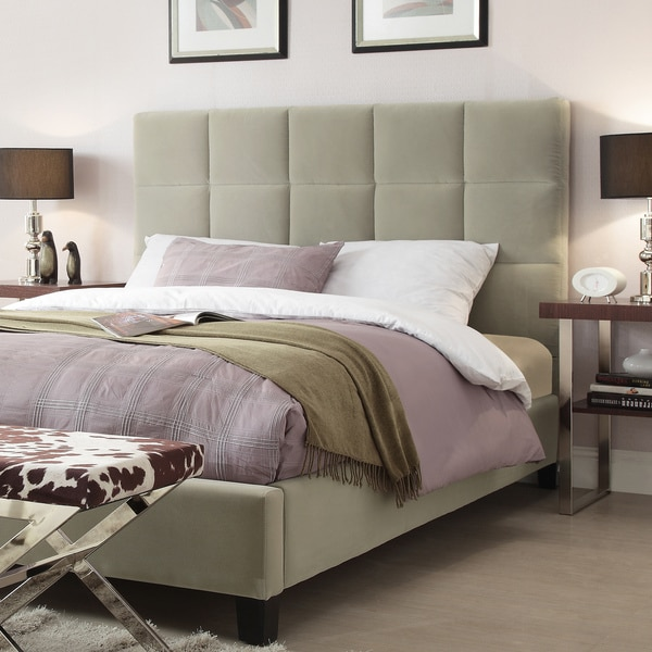 TRIBECCA HOME Sarajevo Taupe Velvet Column Full-sized Upholstered Bed