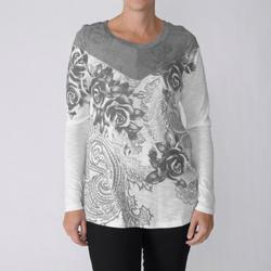 California Bloom Women's Pinstripe and Floral Graphic Top
