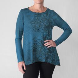 California Bloom Women's Floral Print Long-sleeve Knit Top