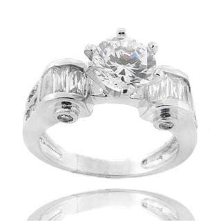 Dolce Giavonna Sterling Silver Round and Baguette Cubic Zirconia Ring
