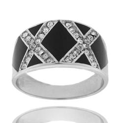 Dolce Giavonna Sterling Silver and Black Enamel Clear Cubic Zirconia 'X' Design Size 8 Ring