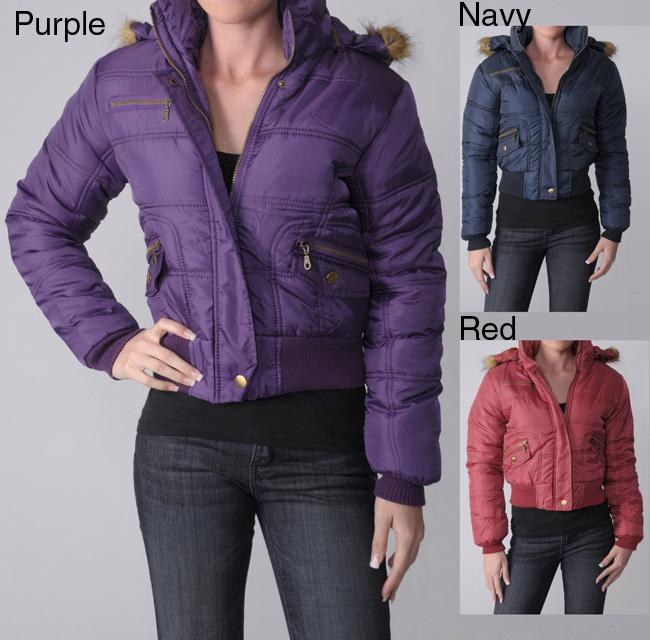 Journee Collection Everyday Juniors Plush Trim Quilted Jacket with Two Pockets