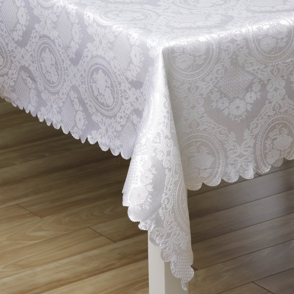 White Medallion Floral Jacquard Rectangular Tablecloth