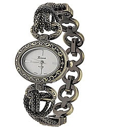 Geneva Women's 'Platinum' Oval Face Antique Link Watch