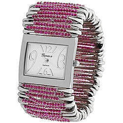 Geneva Women's 'Platinum' Safety Pin Stretch Watch with Fuchsia Beads