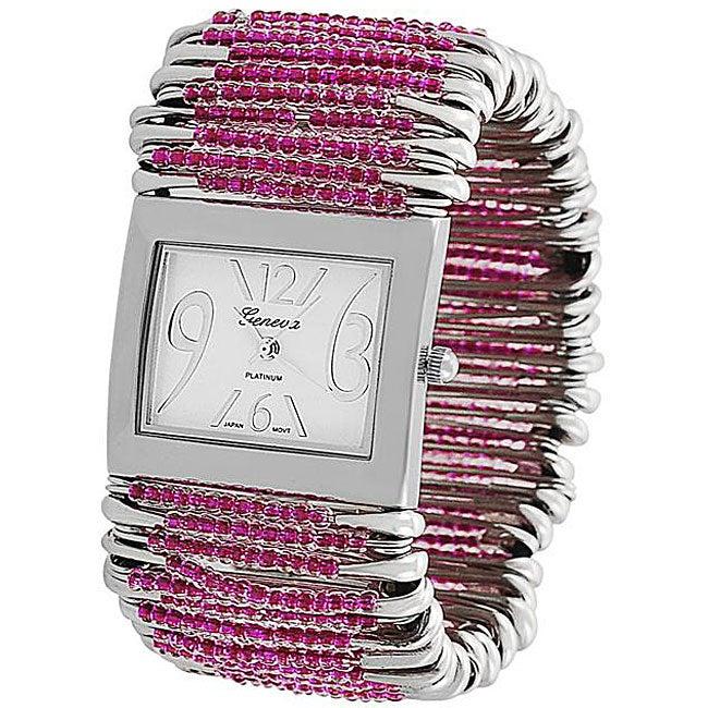 Geneva Women's 'Platinum' Safety Pin Stretch Watch with Fuchsia Beads