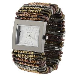 Geneva Women's 'Platinum' Multicolor Safety-pin Stretch Watch