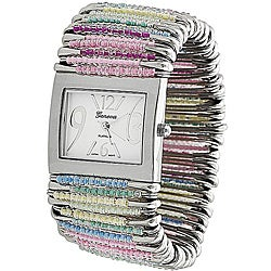 Geneva Women's 'Platinum' Safety Pin Stretch Watch with Pastel Beads