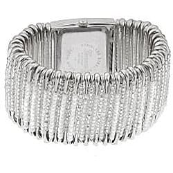 Geneva Women's 'Platinum' Safety Pin Stretch Watch with Clear/White Beads