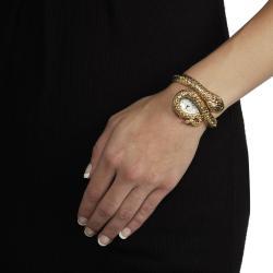 Geneva Women's Gold 'Platinum' Coiled Snake Rhinestone Cuff Watch
