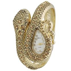 Geneva Women's Gold 'Platinum' Coiled Snake Rhinestone Cuff Watch