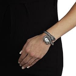 Geneva Women's 'Platinum' Coiled Snake Rhinestone Cuff Watch