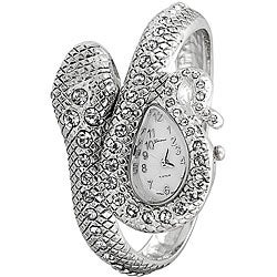Geneva Women's 'Platinum' Coiled Snake Rhinestone Cuff Watch
