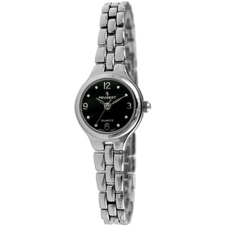 Peugeot Women's Silvertone Watch with Black Dial