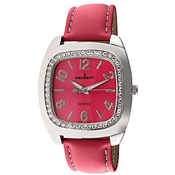 Peugeot Women's Fuchsia Leather Strap Watch