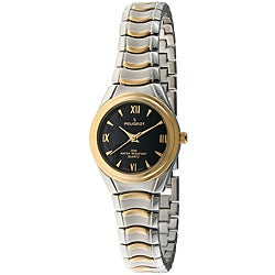 Peugeot Women's Two-Tone Japanese-Quartz Bracelet Watch with Black Dial