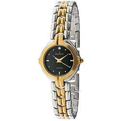 Peugeot Women's Two-Tone Diamond-Accented Watch with Black Dial