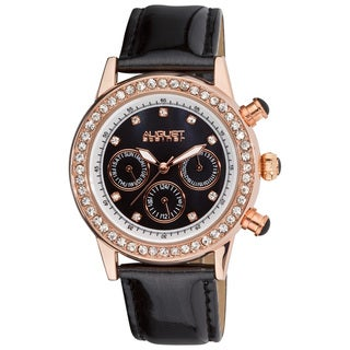 August Steiner Women's Multifunction Dazzling Strap Watch with Rose-Tone Accents