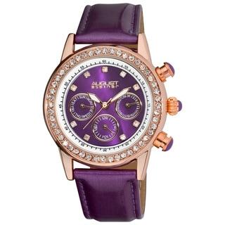 August Steiner Women's Multifunction Dazzling Leather-Purple Strap Watch